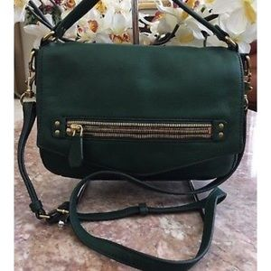 J. Crew green leather hobo convertible bag